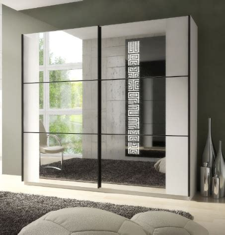 Large Mirrored Wardrobe Large Sliding Mirrored Wardrobe Matt White