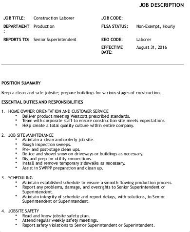 construction laborer description sle 8 exles