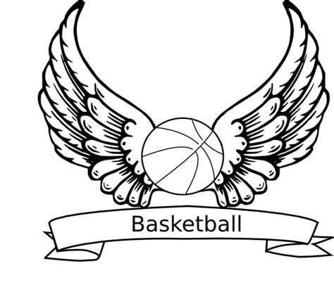 Basketball Angel Wings Clip Art At Clker Com Vector Clip Basketball Coloring Pages
