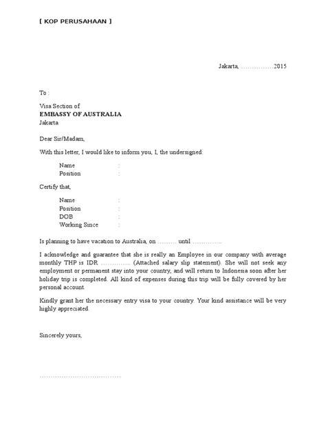 contoh surat pernyataan untuk melamar kerja contoh surat keterangan kerja untuk visa