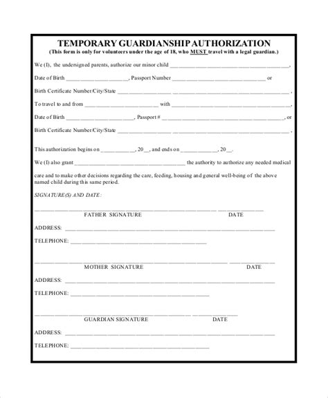 10 Sle Temporary Guardianship Forms Pdf Sle Templates Temporary Custody Affidavit Template