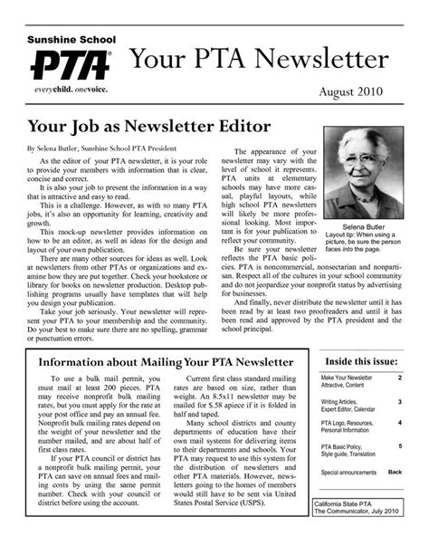 18 Best Pto Pta Newsletter Images On Pinterest Pta Newsletter Templates In Word