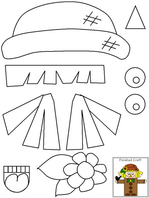 free scarecrow template coloring pages