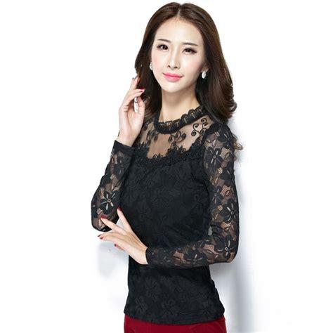 Blouse Fadim Jumbo White fashion large size lace sleeve chiffon blouses white black shirts crochet