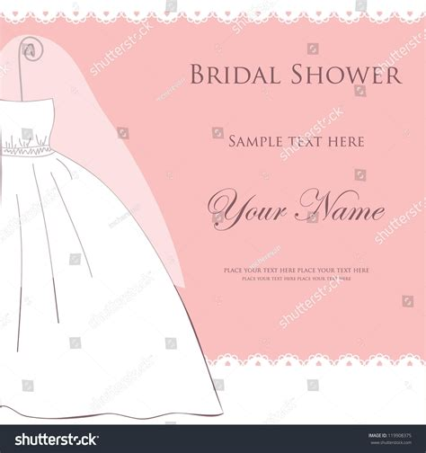 Or Bridal Shower Bridal Shower Or Wedding Invitation Card With Dress On Pink Background Stock Vector