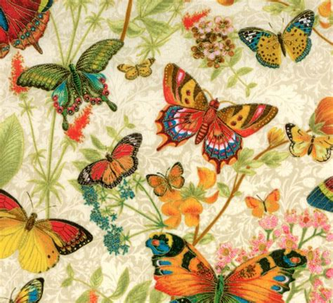 Butterfly Quilt Fabric by Botanical Butterfly Gold Fabric By Punch Studio