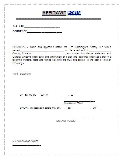 affidavit template word general affidavit form free printable documents