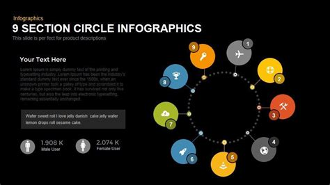 section of a circle 9 section circle powerpoint and keynote infographics