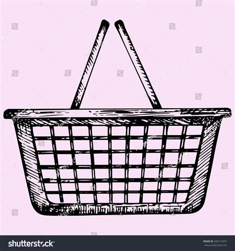 doodle basket plastic shopping basket doodle style sketch stock vector