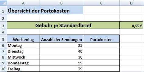 portokosten tabelle relative und absolute zellenbez 252 ge in excel office