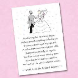 invitation wording for wedding gift money 25 x wedding poem cards for your invitations ask