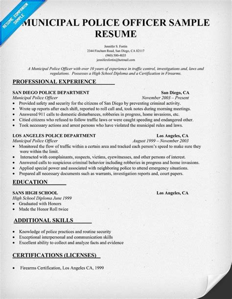 Officer Resumes officer resume graphic design resume ideas