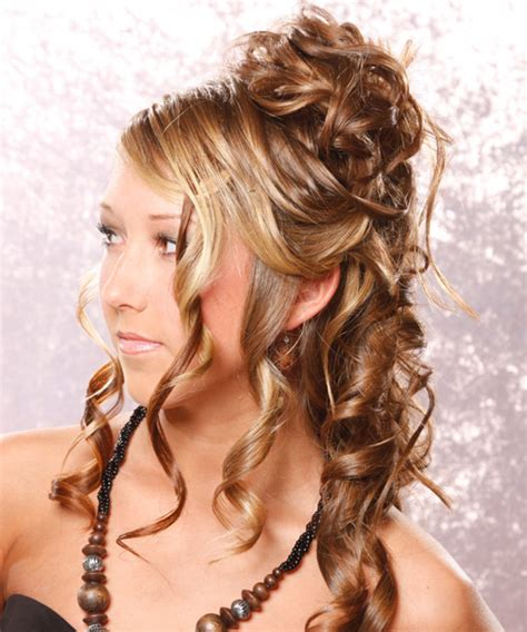 long curly light golden brunette half up hairstyle with