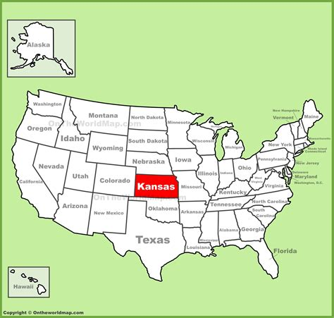 usa map ks kansas location on the u s map