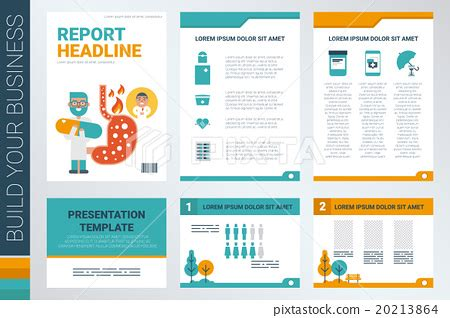 annual report book cover and presentation template stock