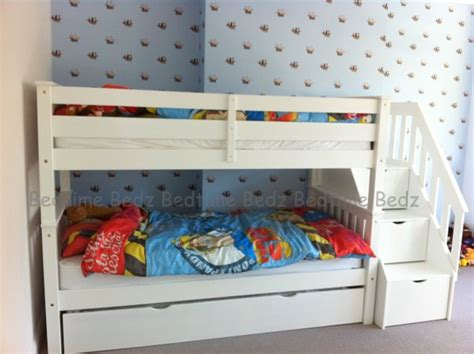 Childrens Bunk Beds With Stairs Uk Staircase Bunk Bed White Waxed Built In Storage Steps Bedtime Bedz