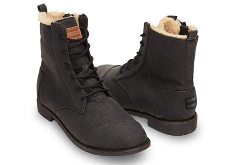 toms boots toms black synthetic leather s alpa boots in black