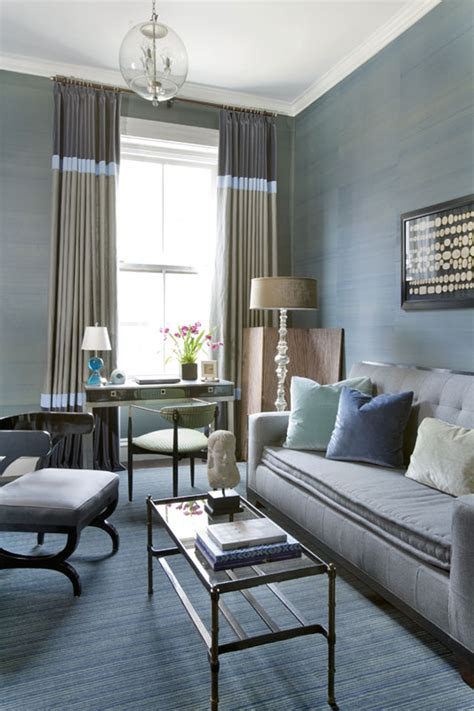 blue and gray living room combination design your own color block drapery