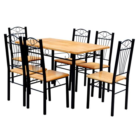 Light Wood Kitchen Table Breakfast Kitchen Dining Table And 6 Chairs Light Wood Ebay