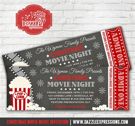 printable movie night tickets printable christmas movie night chalkboard ticket
