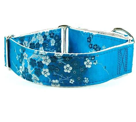 teal collar cherry blossoms teal floral collars collars 2 hounds design