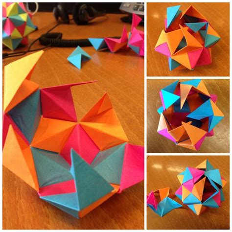 post it origami icosahedron origami craft and oragami