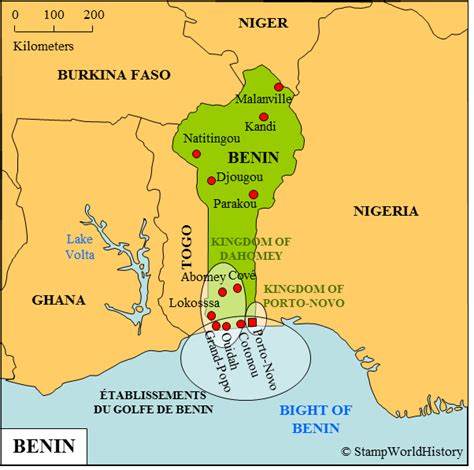 benin on the map benin sts and postal history stworldhistory