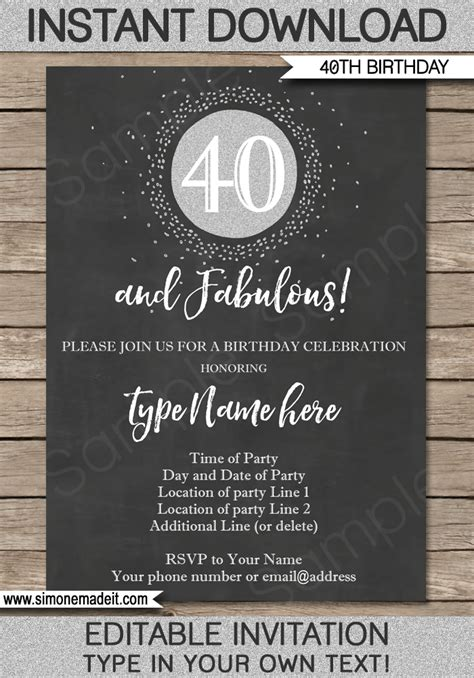 40th birthday invitation templates chalkboard 40th birthday invitations template printable editable
