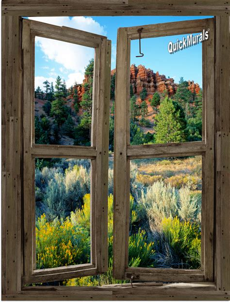 window wall murals desert cabin window peel stick 1 canvas wall mural