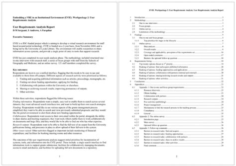 requirements report template requirements analysis template 22 sles for word