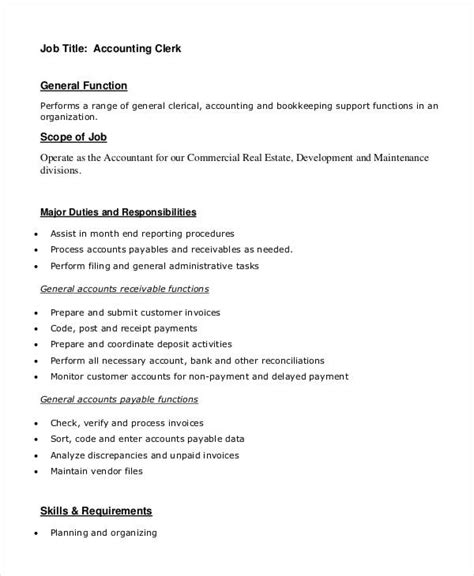 11 clerk descriptions pdf doc free premium