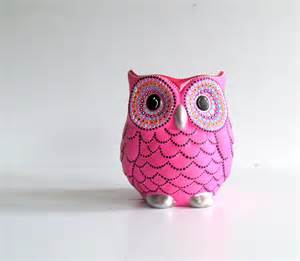 Small Black Vase Pink Owl Vase Small Hand Painted Ceramic Owl Vase Or Pencil