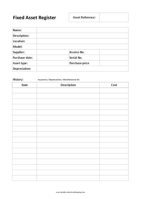 asset register card templates 10 best images of fixed asset system input template