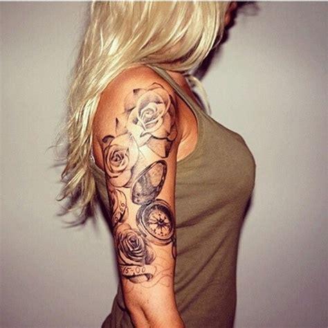 grey ink swirl and rose flower half sleeve tattoo grey ink rose flowers and compass half sleeve tattoo