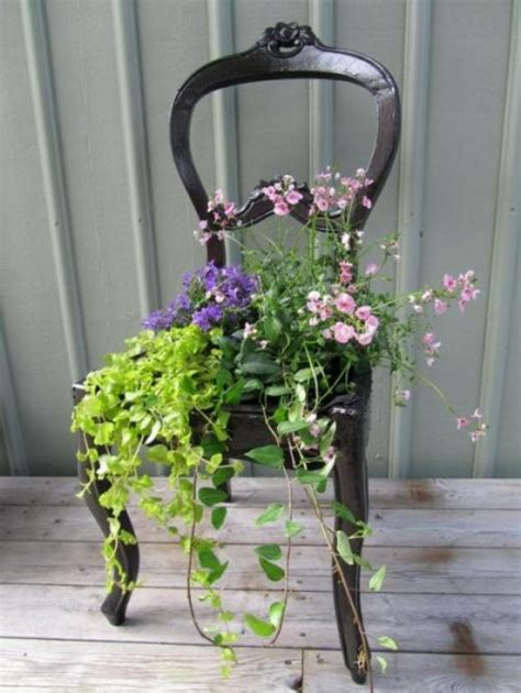 Chair Planter by 15 Upcycled Chairs Transformed Into Unique Garden Planters