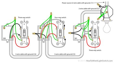 3 light switches in one box wiring diagram with description