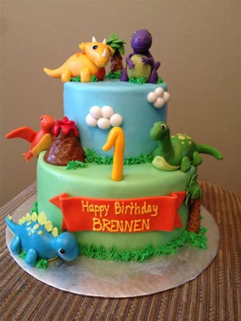 Dinosaur Theme 1St Birthday Cake   CakeCentral.com