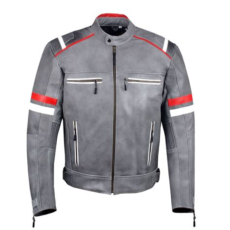 motorcycle jackets with armor men s vintage cafe racer style motorcycle distressed