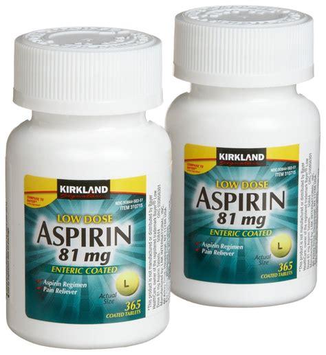 aspirin dose kirkland signature low dose aspirin 2 bottles 365 count enteric coated tablets each