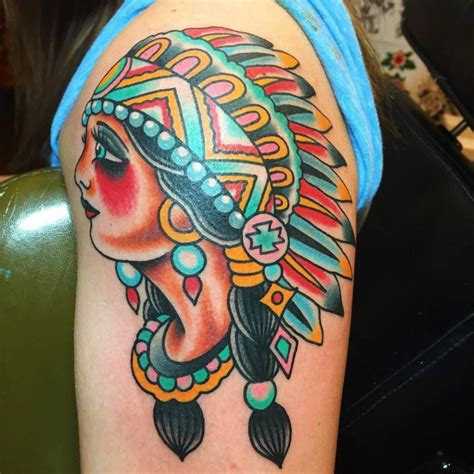 american art tattoo traditional style american chief on the left