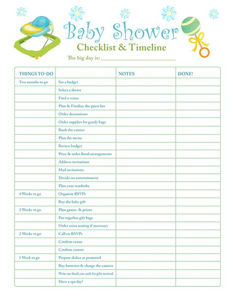Checklist Baby Shower baby shower checklist on baby shower playlist