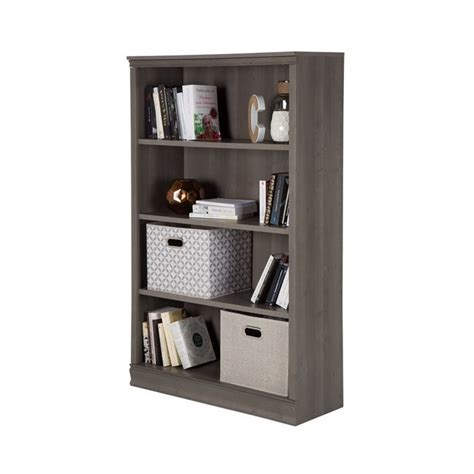 south shore 4 shelf bookcase in gray maple 10153