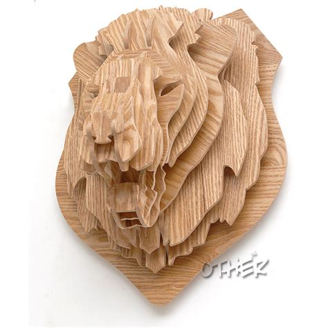 wood animal pattern 3d woodcraft patterns puzzle diy wooden animal lion home