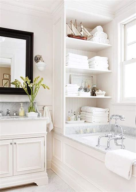 White Bathroom Marble Open Shelving Bathroom Pinterest Bathroom White Shelves