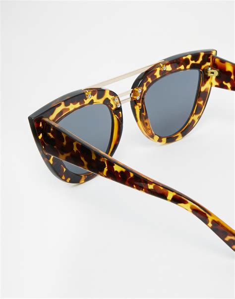 top cat bar asos flat top cat eye sunglasses with brow bar nose bridge in black lyst