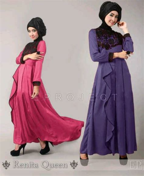 Maxi Dress Gamis Muslim Syari Anera Purple Ungu Muslimah Dress Wanita maxi dress muslim kombinasi brokat gaun pesta brokat muslim