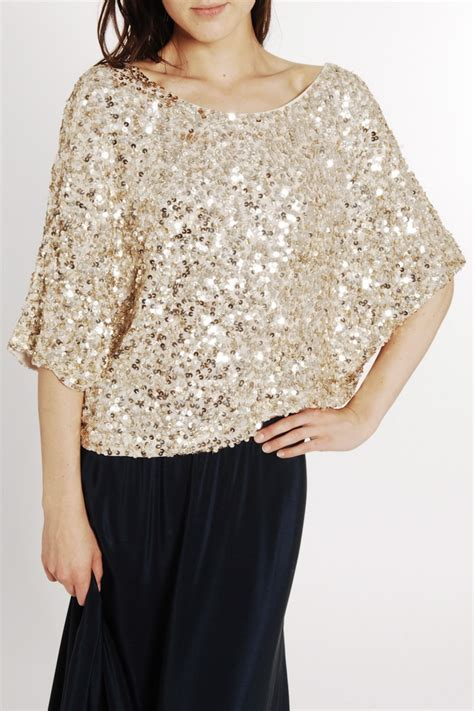 sequined sleeve top vince sequin sleeve top in gold in gold lyst