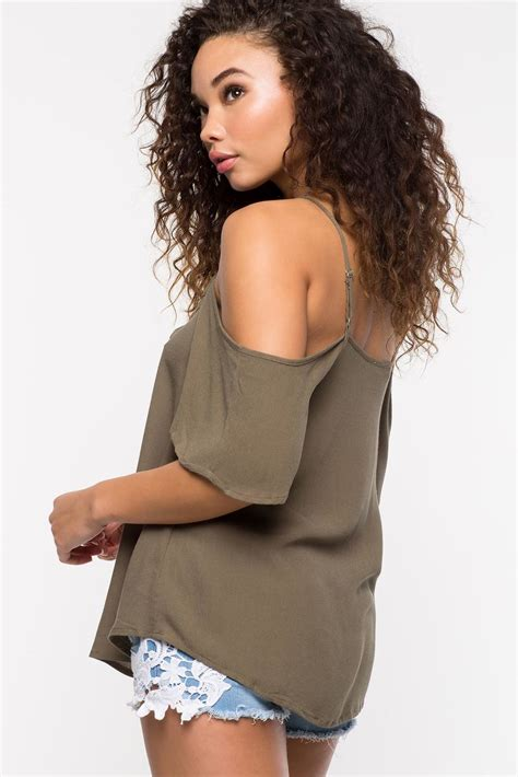 Blouse Xena by S Blouses Xena Lace Up Cold Shoulder Top A Gaci