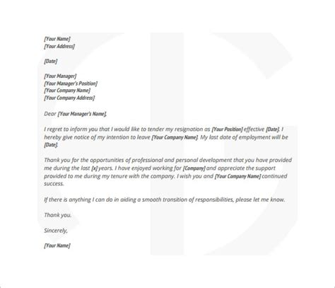 Best Resignation Letter For Bank Employee 13 Employee Resignation Letter Templates Free Sle Exle Format Free