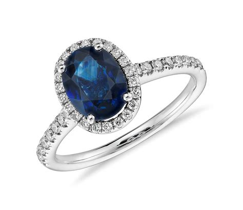 sapphire and micropav 233 halo ring in 14k white gold